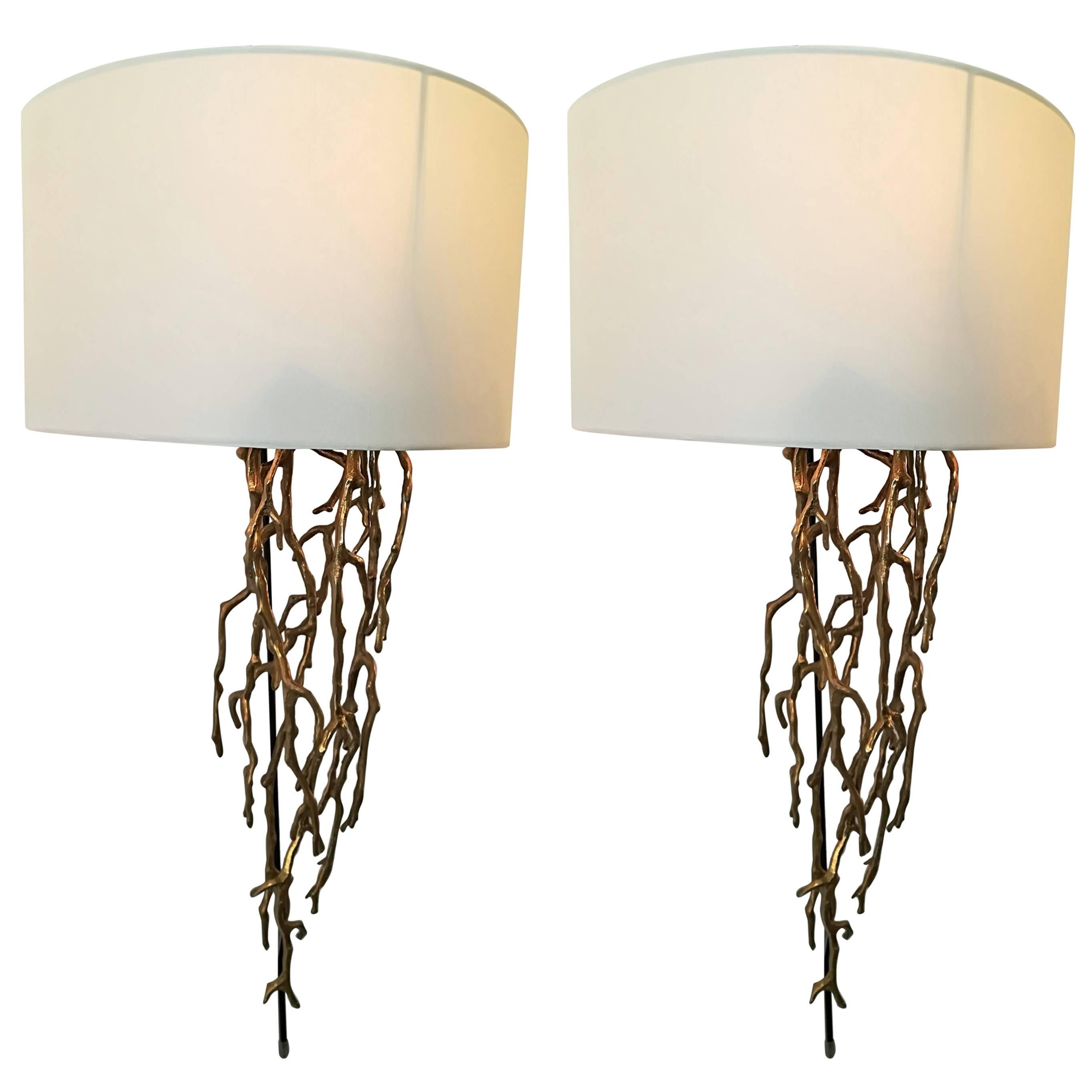 Pair of Brass Sconces Coral Model