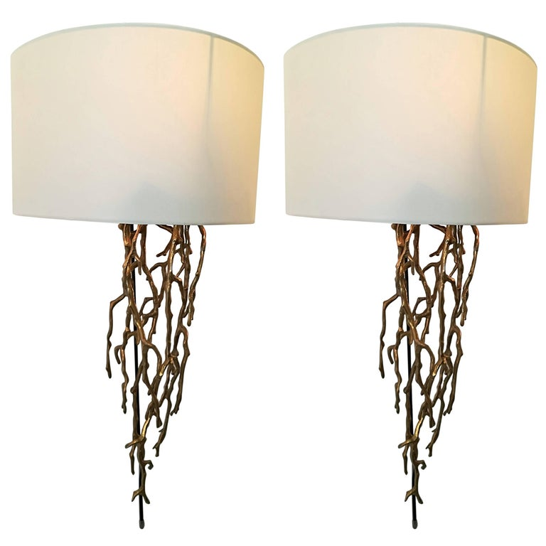 Pair of Brass Sconces Coral Model For Sale