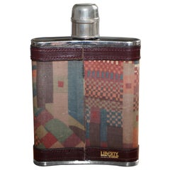 Stunning Liberty London Kilim & Brown Leather Hip Flask Stainless Steel 6oz