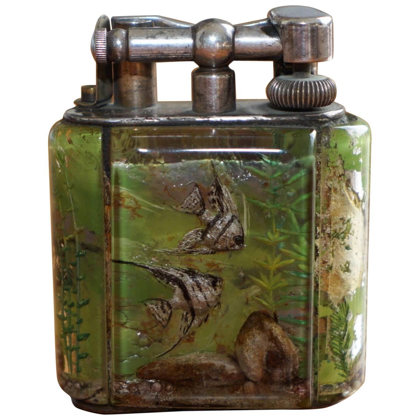 Super Rare 1950s Original Dunhill Aquarium Table Lighter Handmade in England