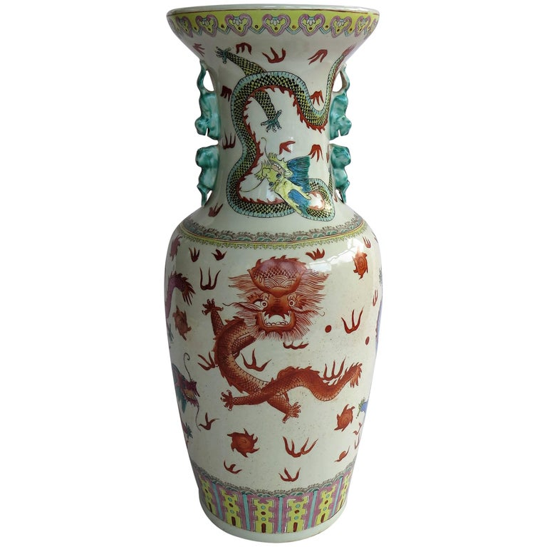 Large Chinese Porcelain 23 inch Floor Vase Hand-Painted Dragons, Circa 1920 For Sale