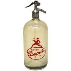 1950s Rare Glass Italian Soda Syphon Seltzer Bitter Campari Two-Litre Bar Bottle