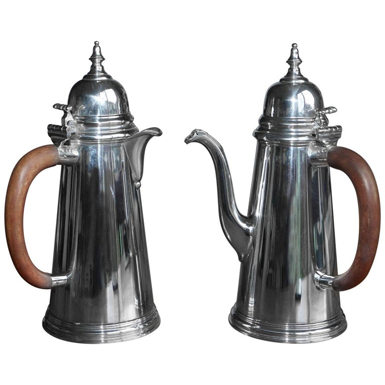 Pair of 1967 Asprey London Sterling Silver Cafe Au Lait Pots Jugs Coffee Milk