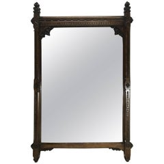A W N Pugin Attributed, Gothic Revival Carved Oak Wall or Pier Mirror