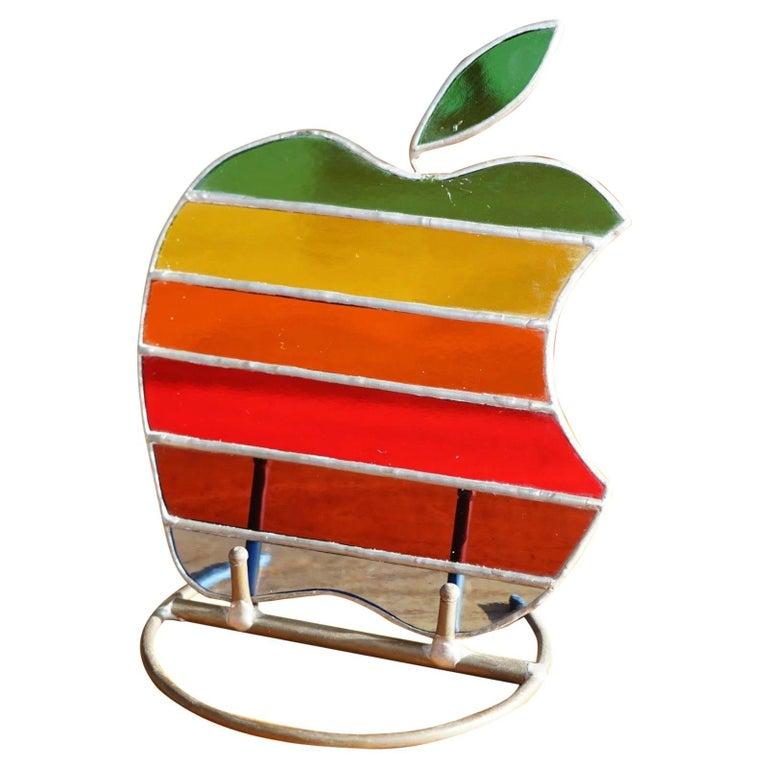 Rare Apple Mac Computers Memorabilia Stained Glass Logo And