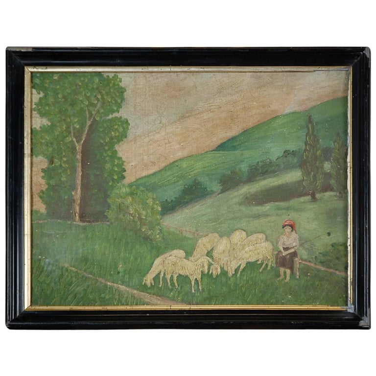 Naive 19th Century Oil on Canvas Mary and Lambs