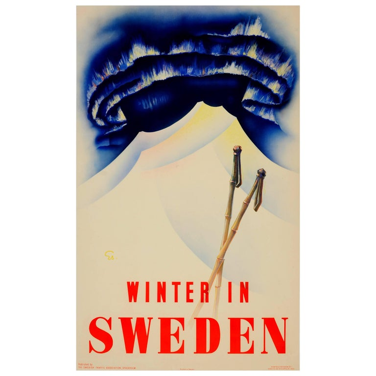 Original Vintage Ski Sport Poster Featuring The Northern Lights Winter in Sweden