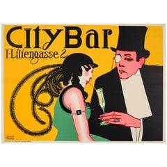 Original Vienna Secessionism Design Poster for City Bar - Now Eden Bar - Austria
