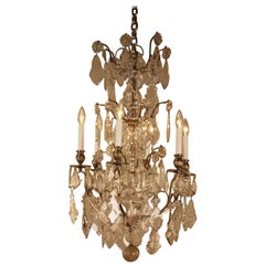 French 1920s Crystal and Silver Chandelier
