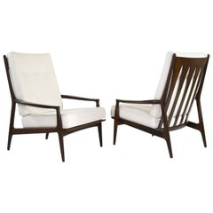 Walnut Milo Baughman, Archie Lounge Chairs, 1950s