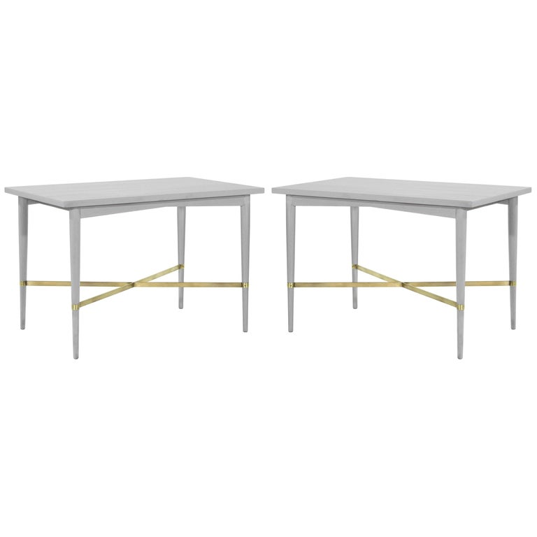 Paul McCobb for Directional Brass Stretcher End Tables For Sale