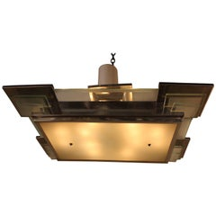 French Art Deco Semi Flush Mount Chandelier