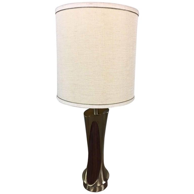 Mario Tempestrini Walnut and Platinum Table Lamp