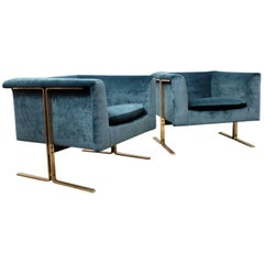 Very Rare 1960s Pair of Geoffrey Harcourt for Artifort Brass Framed Armchairs