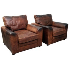 Pair of Very Large 1970s English Brown Leather Armchairs