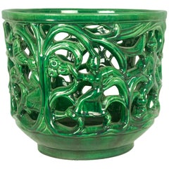 Italian Green Ceramic 1930s Cachepot in the Style of Angelo Biancini