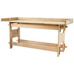 19th Century Swedish Pine Trestle Work Table