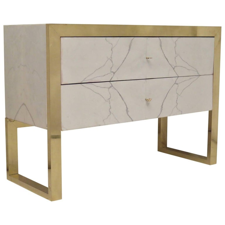2010 Brass and White Marble Chests of Drawers