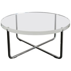 1990s Italian Circular Plexiglass Modern Coffee Table Produced by Minotti