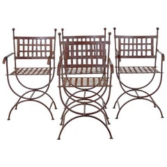 Set of Four Wrought Iron Decorative Garden Chairs