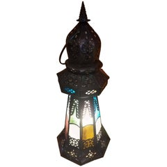 Turkish Moroccan Lighthouse Lantern, Multi-Color Glass