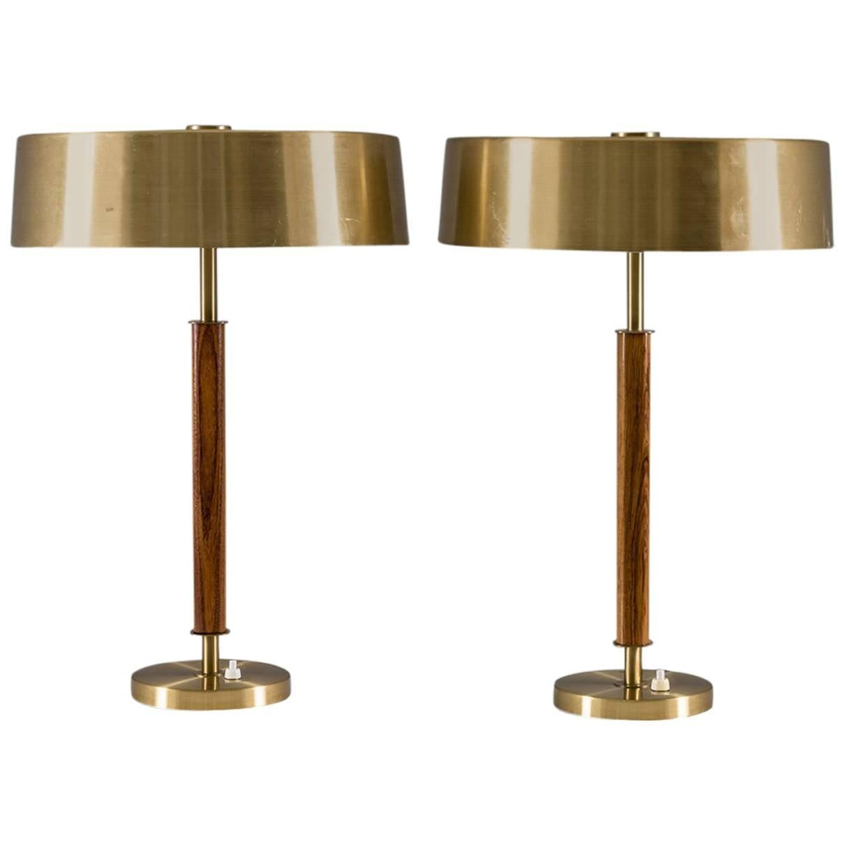 Swedish Midcentury Table Lamps in Brass and Wood by Boréns