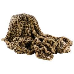 Rex Rabbit Printed Leopard, Fur Throw
