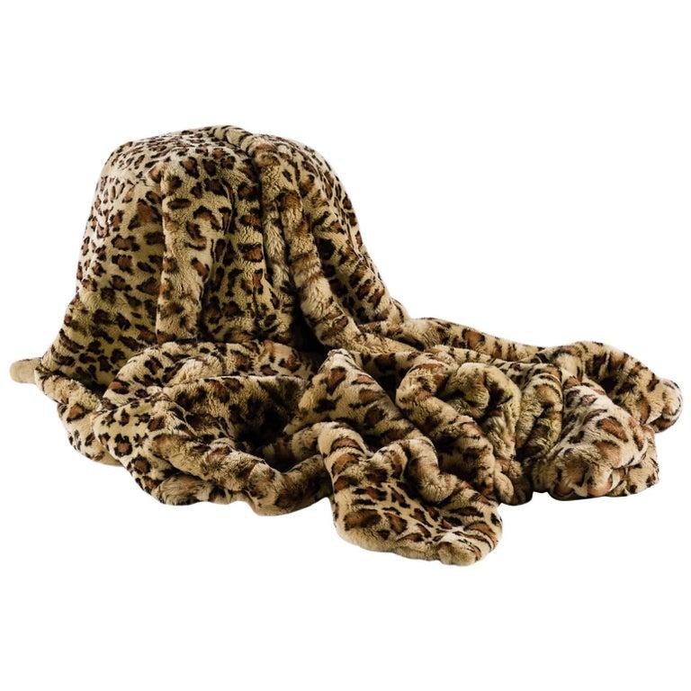 Rex Rabbit Printed Leopard, Fur Throw For Sale