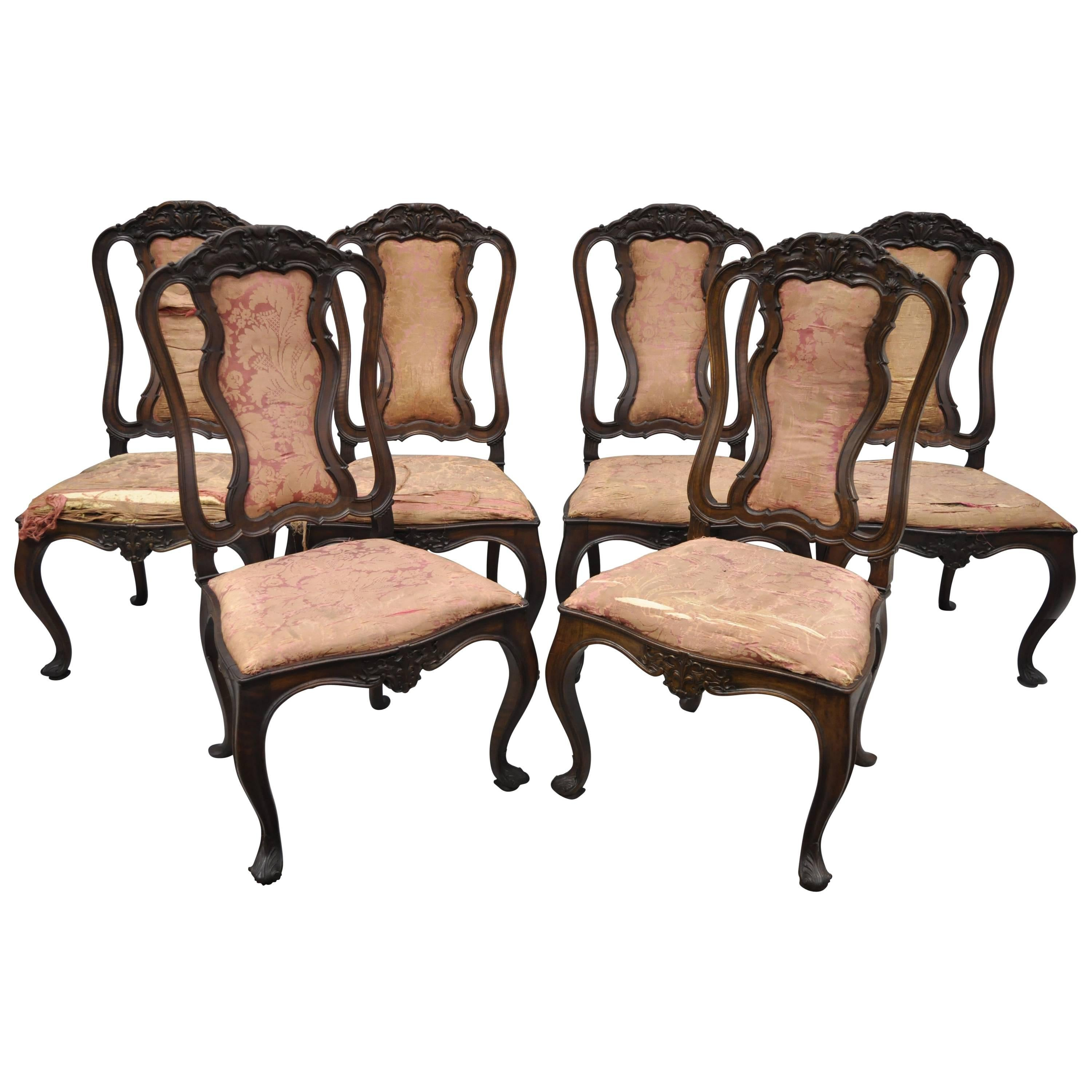 Set of Six Antique Italian Baroque Carved Walnut French Style Dining Chairs