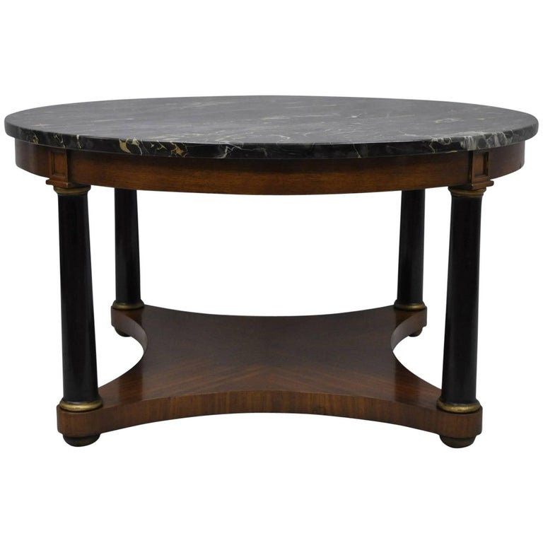 Antique Round Marble-Top Empire Style Coffee Table