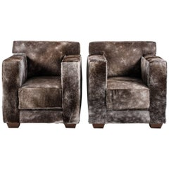 Pair of Armchairs with Horse Hide Upholstery