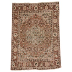 Antique Persian Tabriz Accent Rug, Foyer or Entry Rug with Arts & Crafts Style