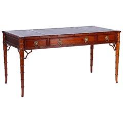 Midcentury Leather Top Desk
