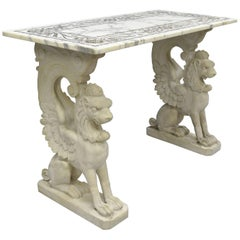 Italian Neoclassical Style Marble-Top Console Hall Table with Winged Griffins