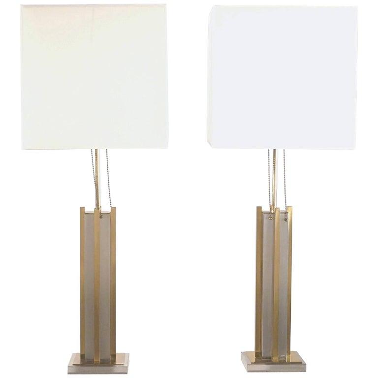 Pair of Gaetano Sciolari Brass and Chrome Lamps, 1970s