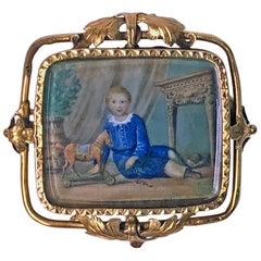 Swiss Gold Portrait Miniature circa 1800 Attributed to Anton Graff