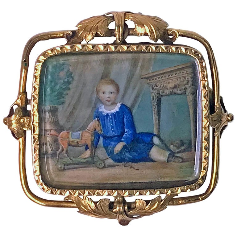 Swiss Gold Portrait Miniature circa 1800 Attributed to Anton Graff For Sale
