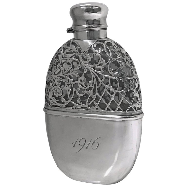 Large American Sterling Flask, circa 1900