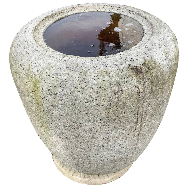 "Japan, Large Old Hand-Carved Tsukubai Water Basin ""Natsume"""