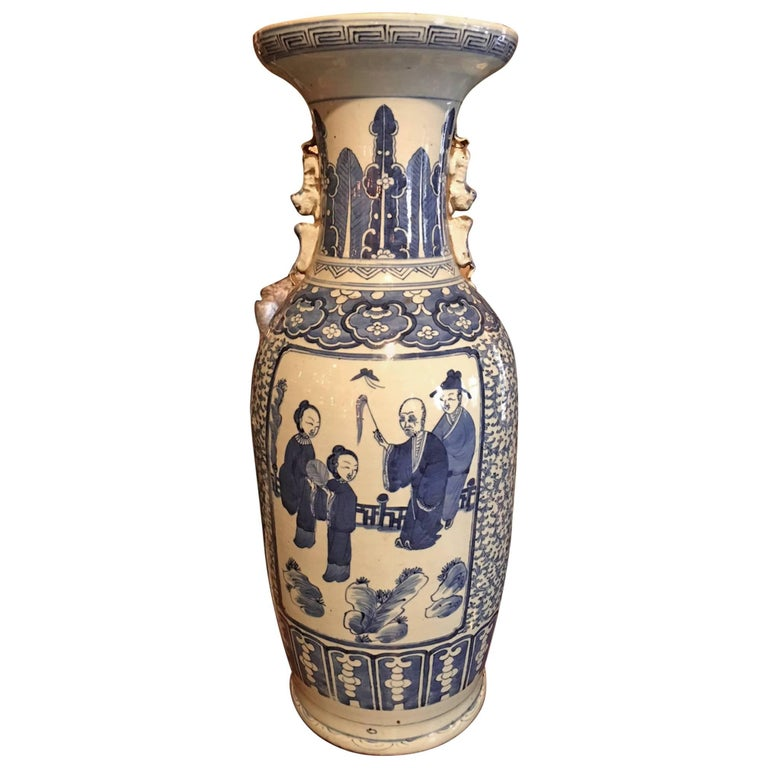 Blue and White Chinese Large Baluster Form Vase, 20th Century For Sale