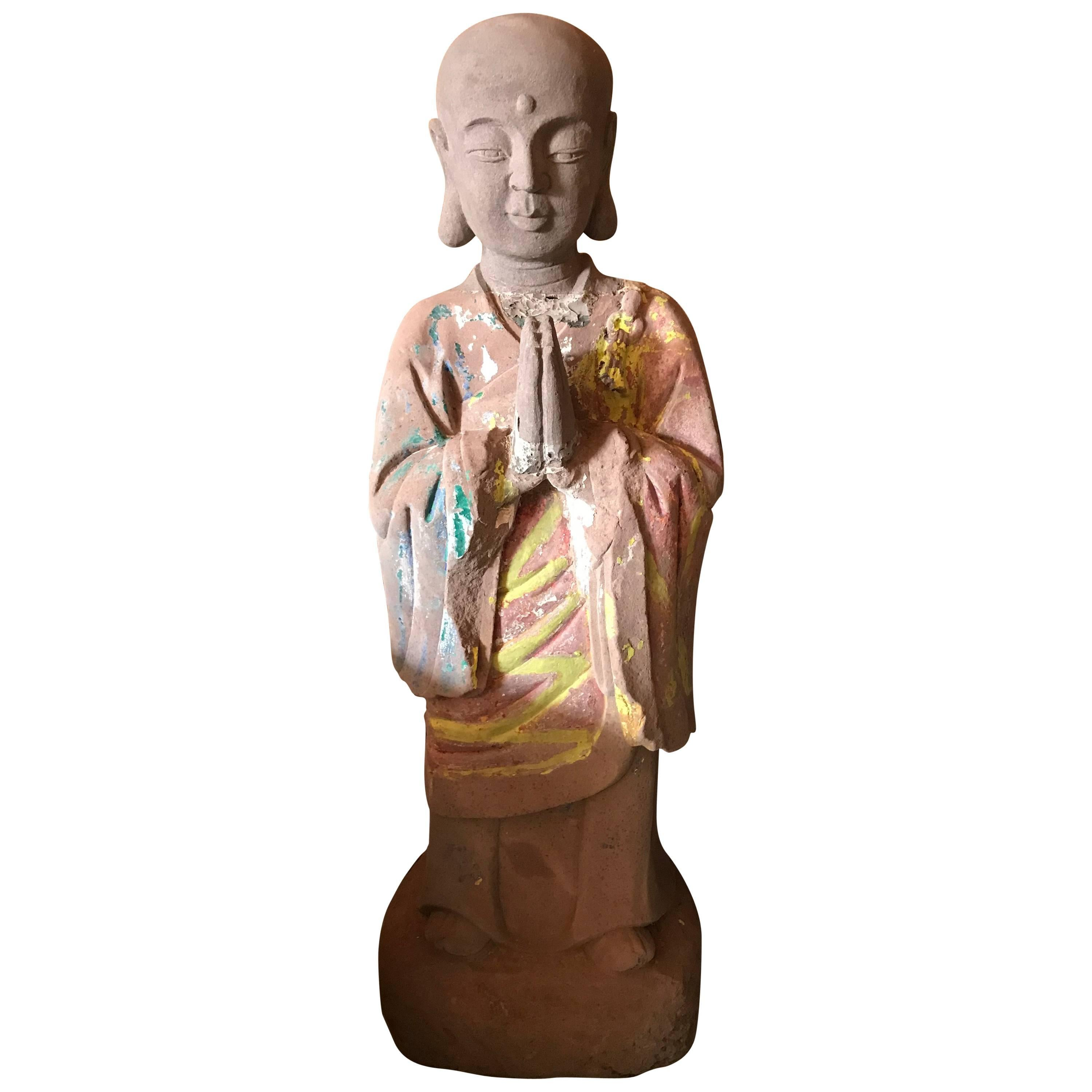 Important Chinese Antique Hand-Carved Stone Figure of Buddhas' Kasyapa