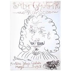 """Vintage Pablo Picasso Lithograph Poster """"Sala Gaspar,"""" 1968"""