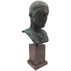 Early 20th Century Grand Tour Mounted Bronze of the Charioteer of Delphi