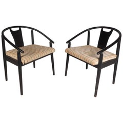 Pair of Mid-Century Modern Barrel Back Side Chairs