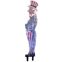 Folk Art Carved and Painted Uncle Sam Sculpture, circa 1920