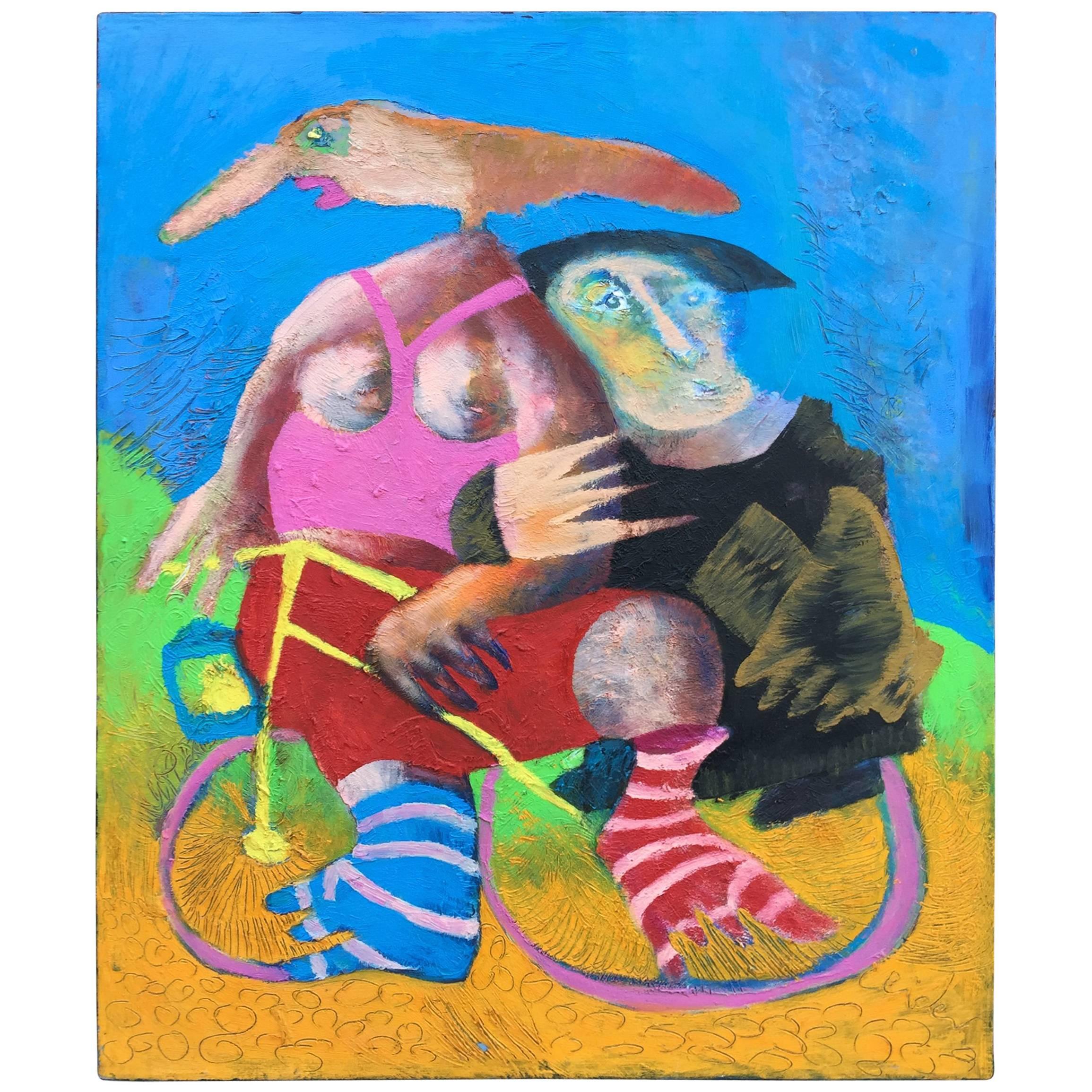 "Clider, ""Dame à vélo"", Acrylic on Canvas Signed"