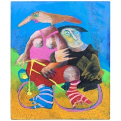 "Clider, ""Dame à vélo"", Acrylic on Canvas Signed"