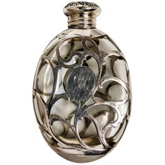 Antique American Pumpkin Seed Flask with Coin Silver Overlay, circa 1900