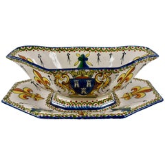 19th Century Alcide Chaumeil French Faïence Armorial Heraldic Footed Sauce Boat