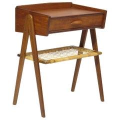 Danish Teak Side Table Nightstand with Woven Cane Shelf